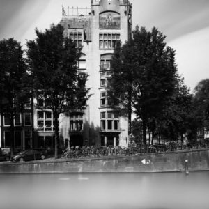 Amsterdam, Leliegracht, Keizersgracht, Astoria, Eerste Hollandsche Levensverzekerings Bank, Black and White, Long Exposure, Ivo Kerssemakers, Canals, Architecture, Netherlands, Holland, Fine Art, B&W