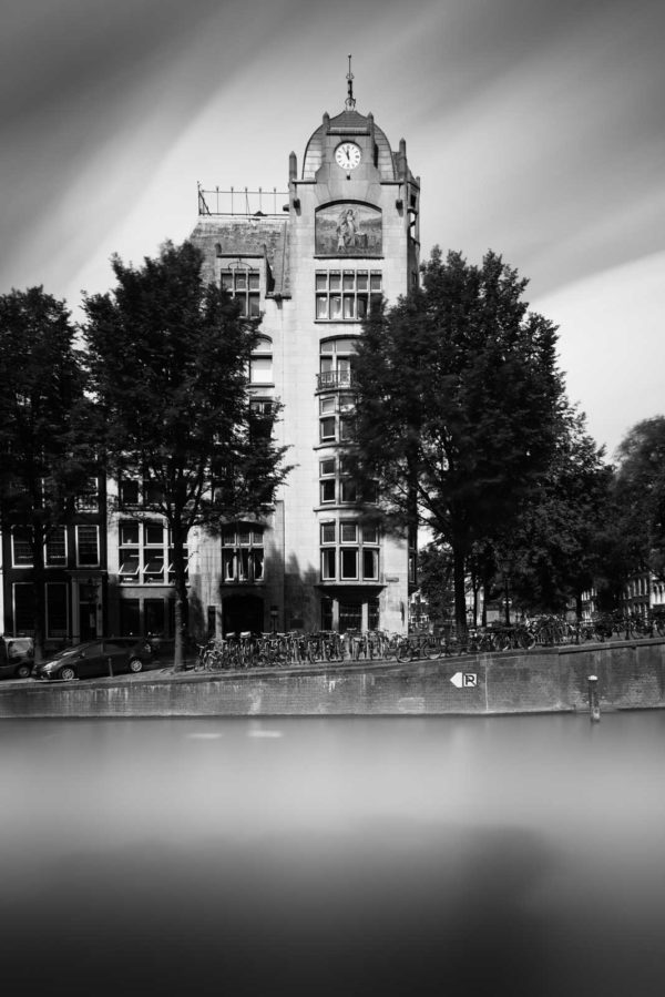 Amsterdam, Leliegracht, Keizersgracht, Astoria, Eerste Hollandsche Levensverzekerings Bank, Black and White, Long Exposure, Ivo Kerssemakers, Canals, Architecture, Netherlands, Holland, Fine Art, B&W