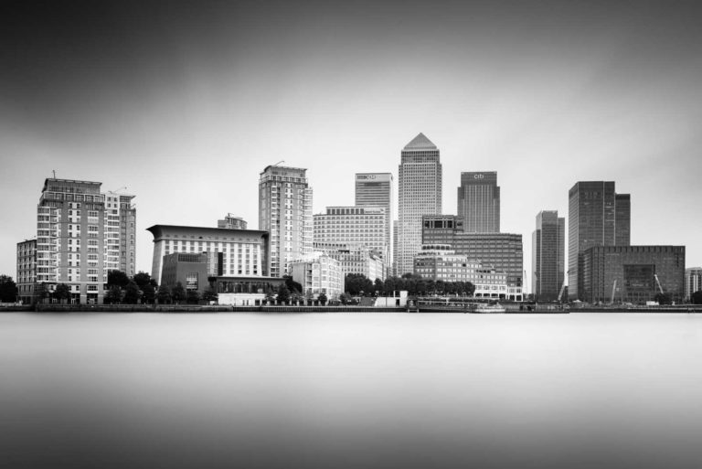 Canary Wharf, Black and White, Long Exposure, London, England, Ivo Kerssemakers