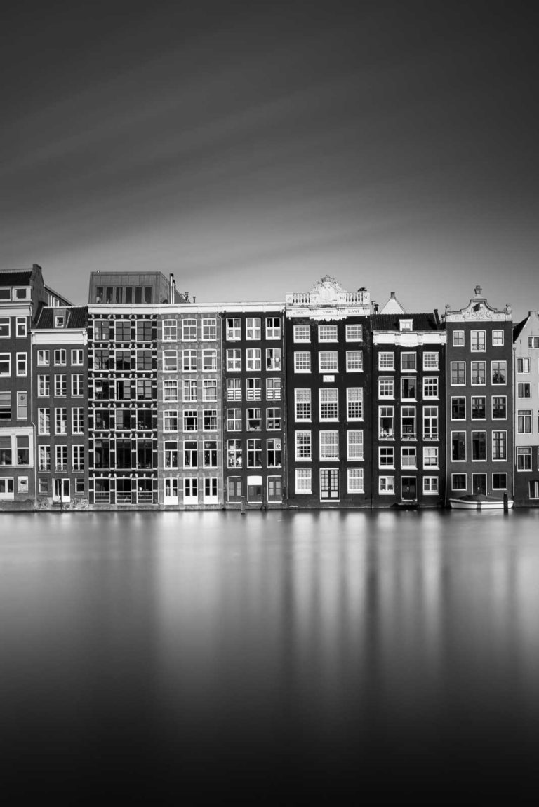 Amsterdam, Damrak, Black and White, Long Exposure, Ivo Kerssemakers, Canals, Architecture, Netherlands, Holland, Fine Art, B&W