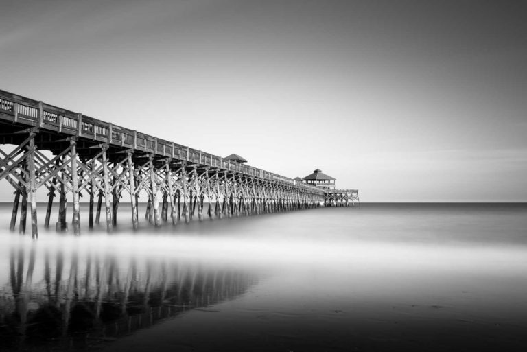 Folly Beach, Pier, Ocean, Beach, Charleston, South Carolina, Black and White, B&W, Long Exposure, Fine Art, Ivo Kerssemakers