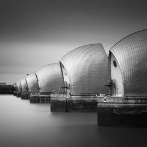 London, The Barrier, Thames, Black and White, Long Exposure, England, Ivo Kerssemakers