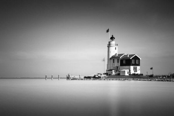 Marken, Lightouse, Het paard van Marken, Black and White, Long Exposure, Ivo Kerssemakers, Canals, Architecture, Netherlands, Holland, Fine Art, B&W