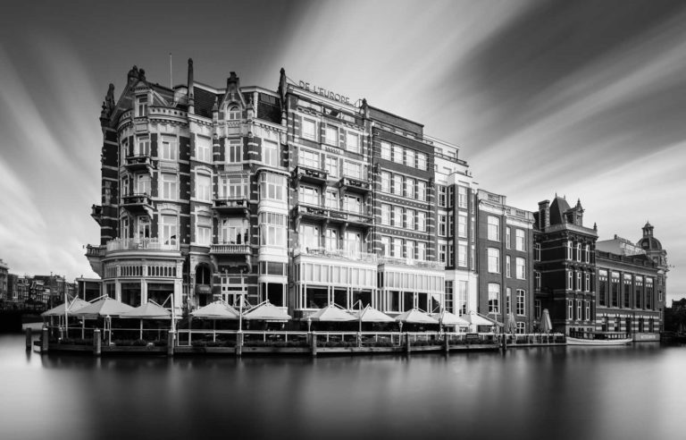 Amsterdam, Hotel, De l'Europe, Black and White, Long Exposure, Ivo Kerssemakers, Canals, Architecture, Netherlands, Holland, Fine Art, B&W