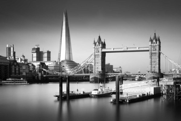 Shard, Tower Bridge, London, Thames, Black and White, Long Exposure, England, Ivo Kerssemakers
