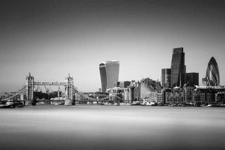 Financial district, Tower Bridge, London, Thames, Black and White, Long Exposure, England, Ivo Kerssemakers