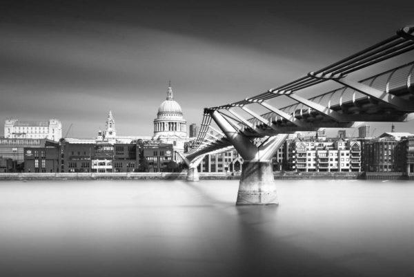 Millennium Bridge, St. Pauls, Thames, London, England, Long Exposure, Black and White, Ivo Kerssemakers