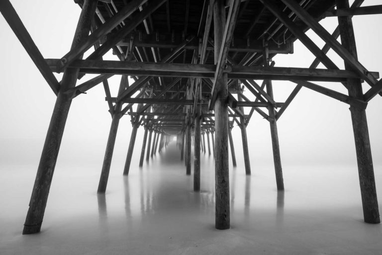 Garden City, Pier, South Carolina, Fog, Mist, Ocean, Beach, Long Exposure, Black and White, B&W, Fine Art, Ivo Kerssemakers
