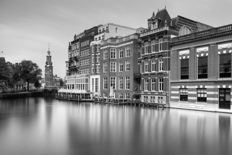 Amsterdam, Munt toren, hotel l'europe, Black and White, Long Exposure, Ivo Kerssemakers, Canals, Architecture, Netherlands, Holland, Fine Art, B&W