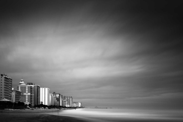 Myrtle Beach, South Carolina, Black and White, Long Exposure, B&W, Beach, Ocean, Ivo Kerssemakers