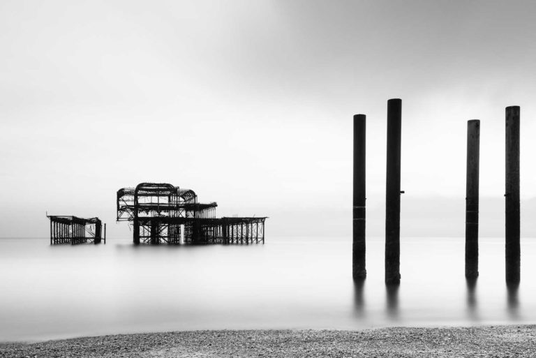 West Pier, Brighton, England, Black and White, Long Exposure, Ivo Kerssemakers