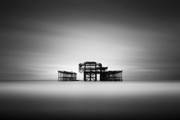West Pier, Brighton, Black and White, Long Exposure, England, Ivo Kerssemakers
