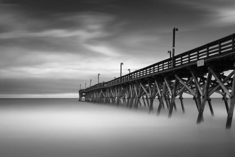 Surfside Beach, Pier, Beach, Ocean, Storm, South Carolina, Long Exposure, Black and White, Ivo Kerssemakers