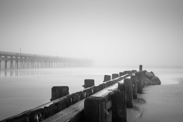 Pawleys Island, Pier, Groin, Black and White, Fog, Long Exposure, South Carolina, Ivo Kerssemakers