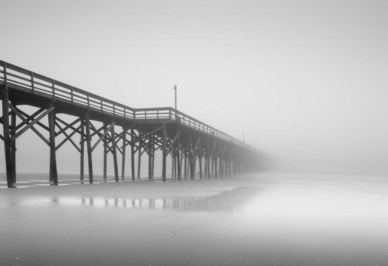 Pawleys Island Pier, Black and White, Long Exposure, Fog, South Carolina, Ivo Kerssemakers