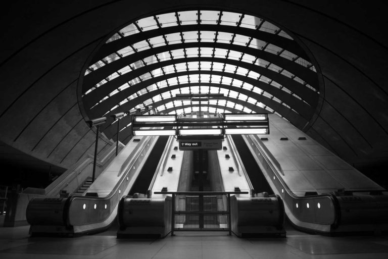 Canary Wharf, Subway, Tube, Station, Escalator, Black and White, London, Ivo Kerssemakers, Fine Art