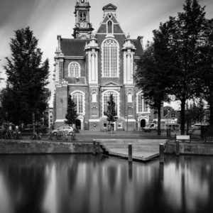 Amsterdam, Westerkerk, Church, Black and White, Long Exposure, Ivo Kerssemakers, Canals, Architecture, Netherlands, Holland, Fine Art, B&W