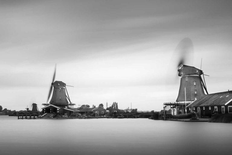 Zaanse Schans, Windmills, Kinderdijk, Long Exposure, Ivo Kersemakers, Netherlands, Holland, Black and White, Fine Art, B&W