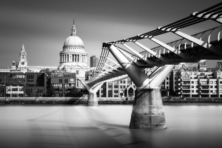 Millennium Bridge, St. Pauls, Thames, London, England, Long Exposure, Black and White, Ivo Kerssemakers
