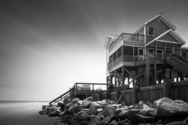 Black & white art print of a beach house on Folly Beach, South Carolina