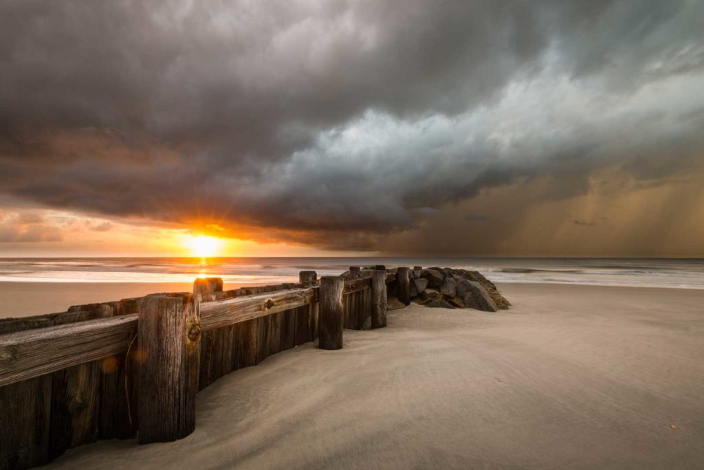 Pawleys Island, Groin, Sunrise, Beach, Clouds, South Carolina, Coast, Ivo Kerssemakers