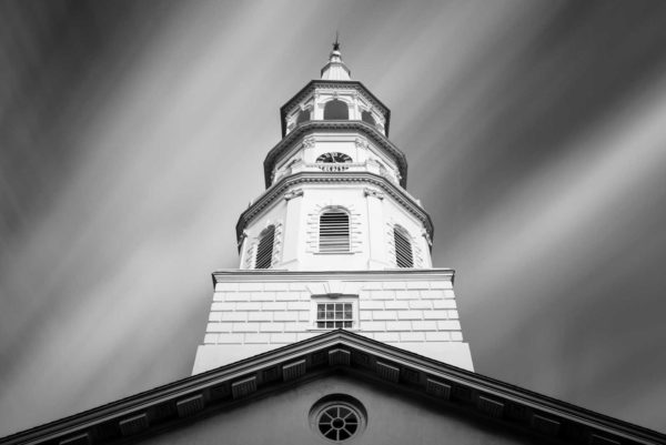 Art print of the steeple of the St. Michaels Church in Charleston, South Carolina