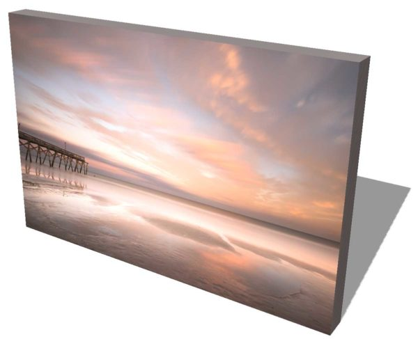 canvas print of the Surfside pier, after being destroyed by matthew, with a wide ocean and beach view during sunset