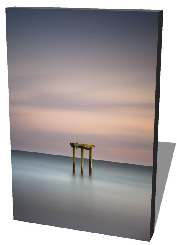 Canvas print of a Groin during sunset, a minimalist view created by a long exposure photography technique by Ivo Kerssemakerws